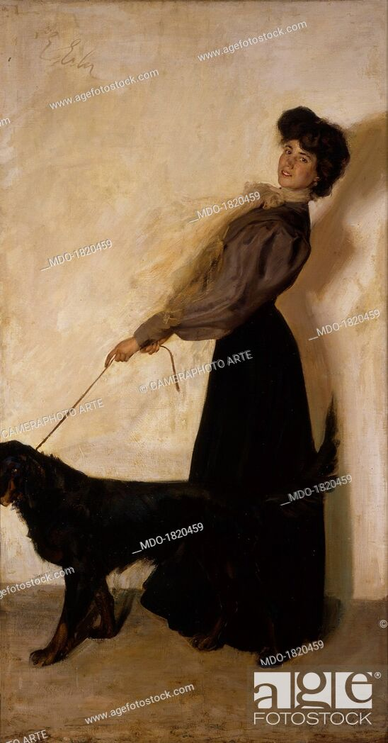 Lady with Dog, by Giulio Ettore Erler, 1905, 20th Century, oil on ...