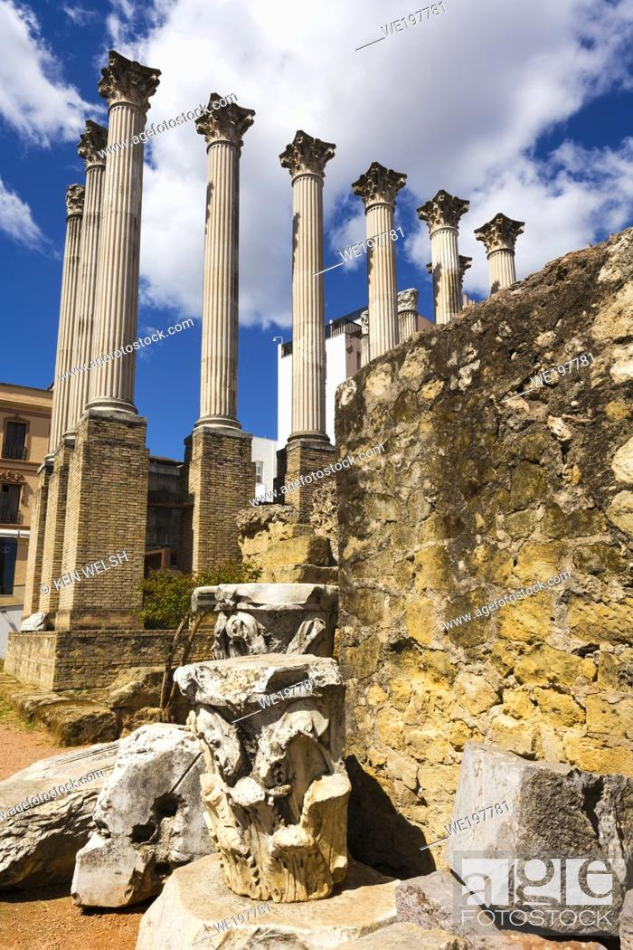 Stock Photo: Cordoba, Cordoba Province, Andalusia, southern Spain. Columns with Corinthian capitals of 1st century AD Roman temple.