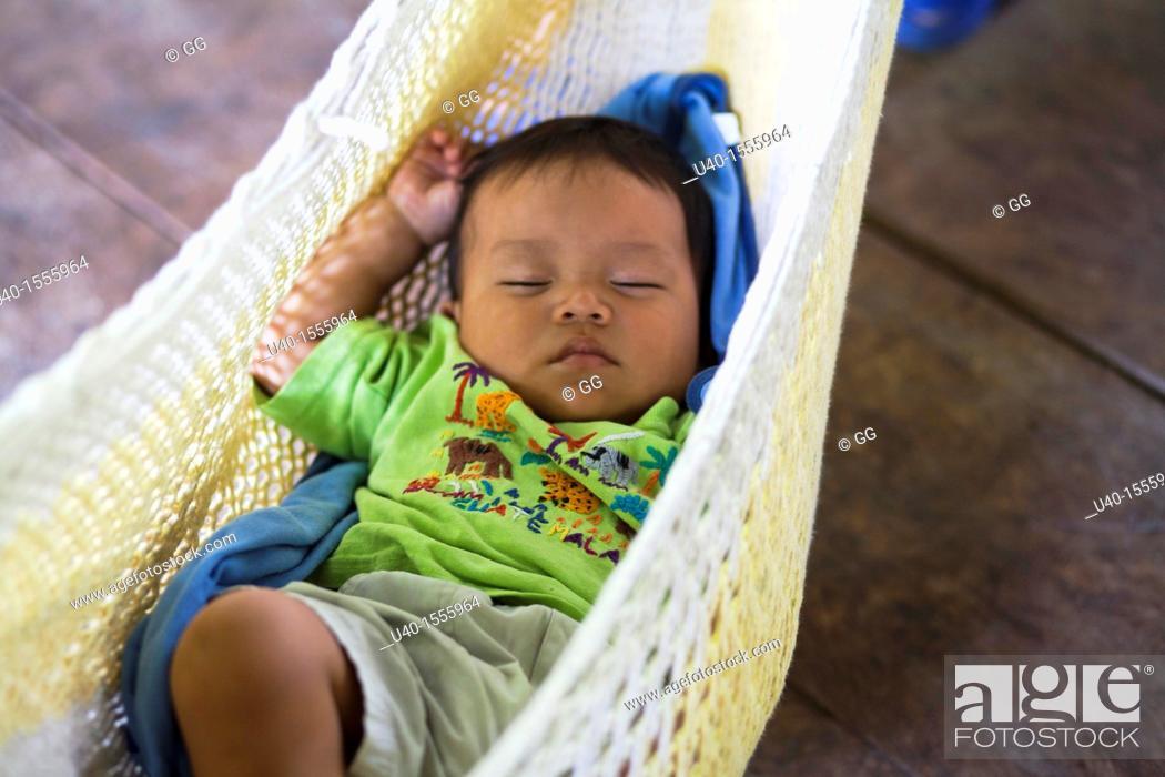 Stock Photo: Baby Boy in hammock.