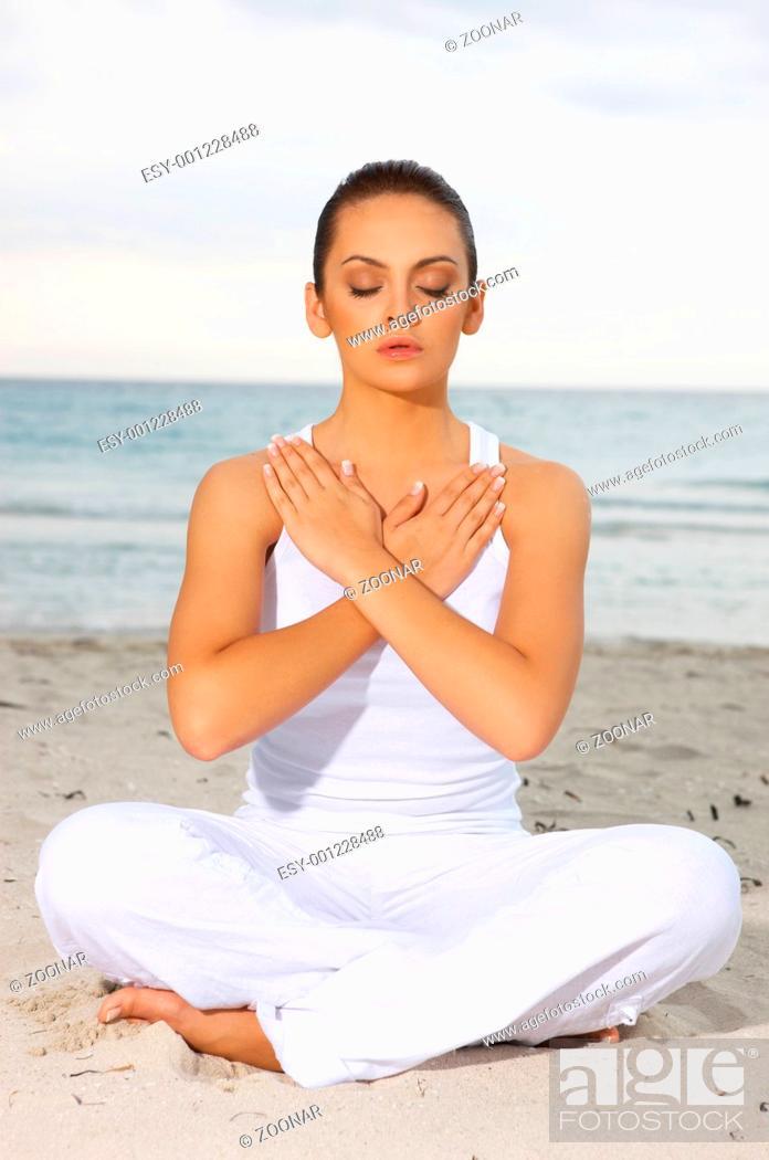 Stock Photo: Yoga at Caribbean.