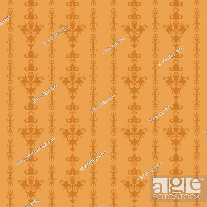 Stock Vector: Light brown vector vintage background seamless floral old-time striped pattern.