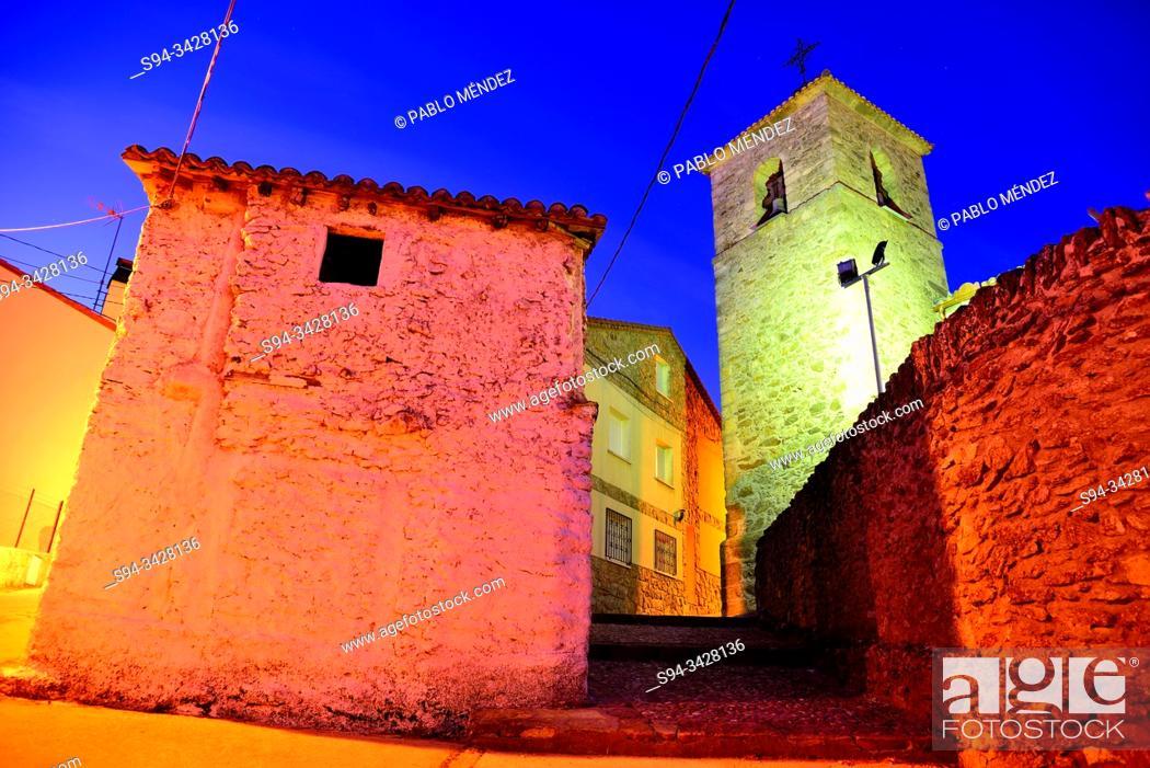 Stock Photo: Church of Santa Catalina in Robregordo, Madrid, Spain.