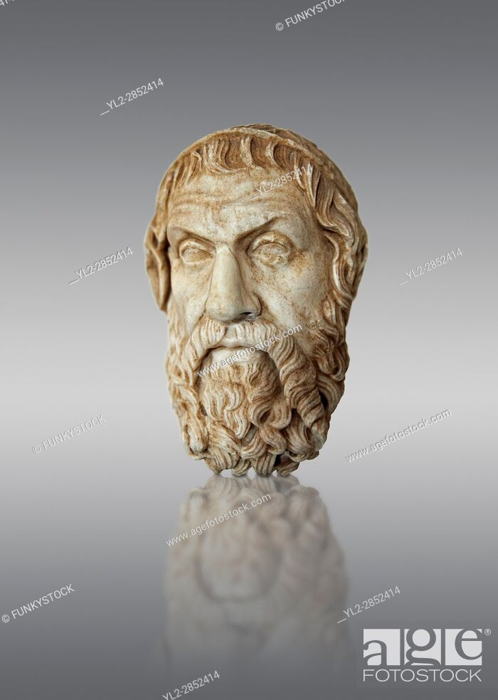 Stock Photo: Roman marble sculpture bust of Sophocles, Farnese Type, 1st century AD copy from an original 4th century BC Hellanistic Greek original, inv 6413.