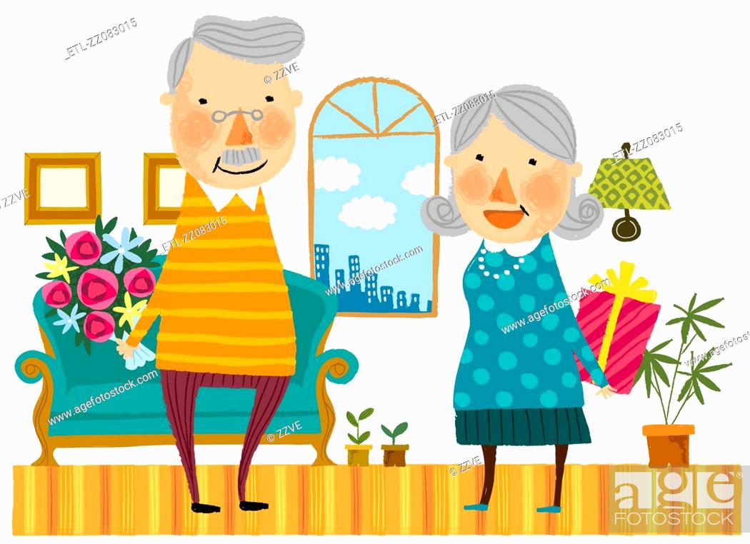 Stock Photo: Elderly couple hiding gifts from each other.