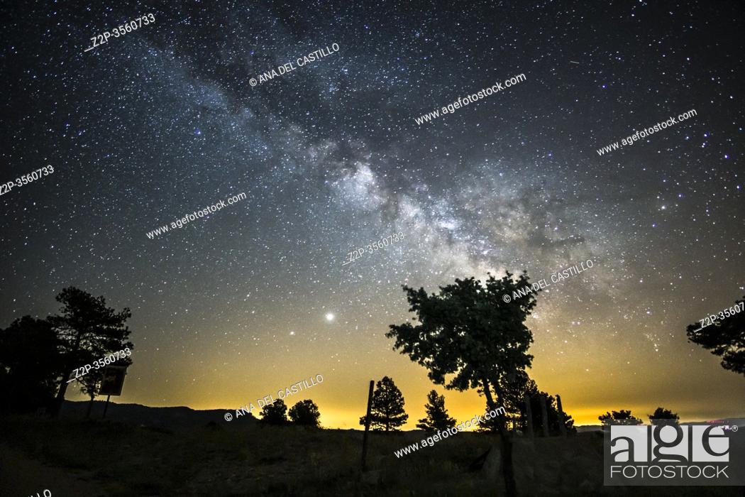 Stock Photo: Milky way on the Gudar mountains starlight spot in Teruel Spain.
