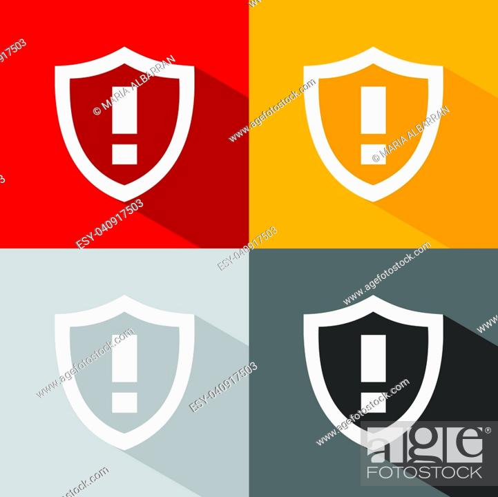 Stock Vector: Warning shield icon with shade on colored background.