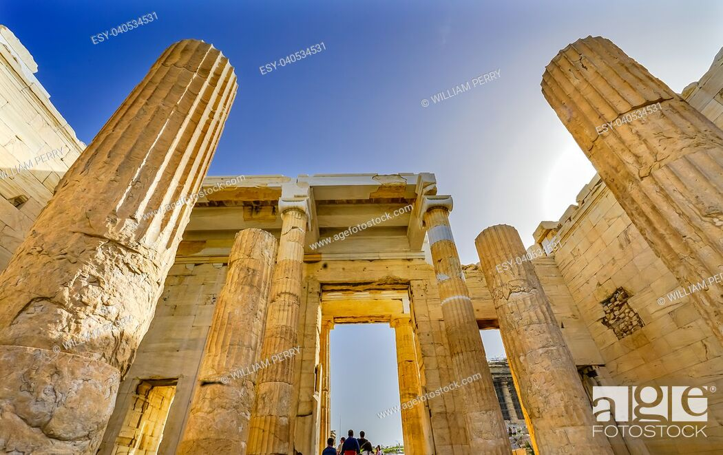 Stock Photo: Propylaea Ancient Entrance Gateway Ruins Acropolis Athens Greece Construction ended in 432 BC.