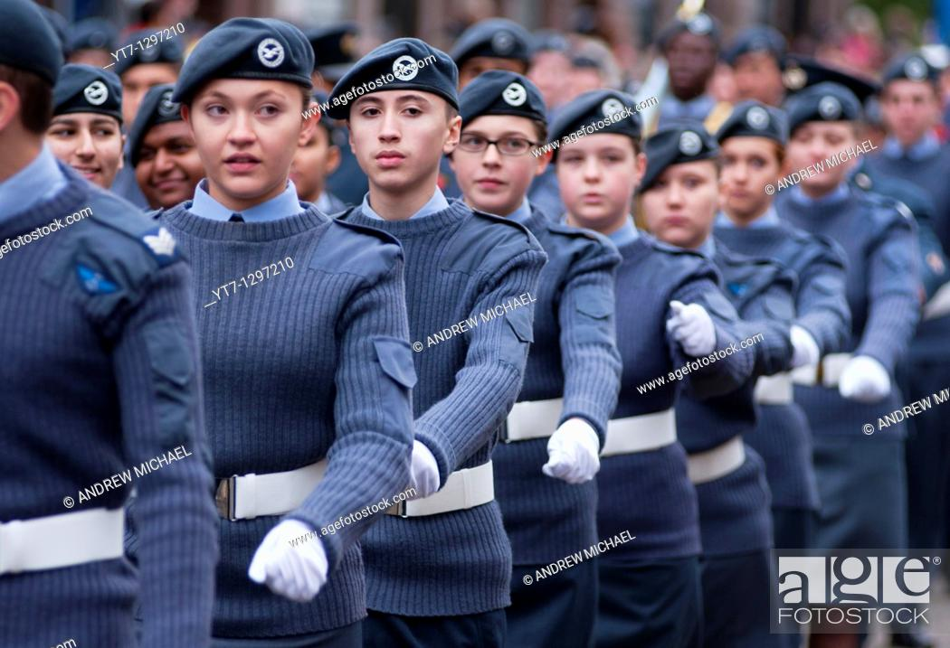 Stock Photo: RAF personnel marching at the Lord Mayor's show in London, UK  2010.