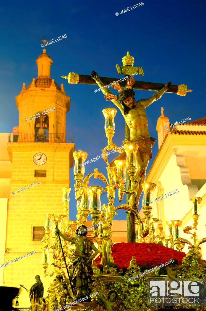 Stock Photo: Holy Week. Brotherhood of La Vera Cruz. Jesus Christ crucified. Cadiz. Region of Andalusia. Spain. Europe.