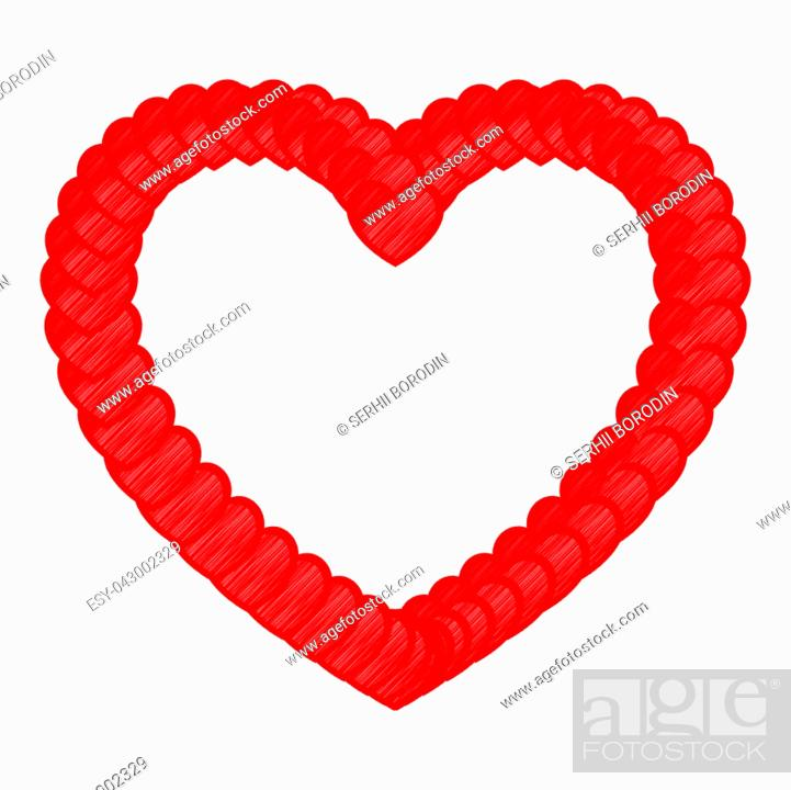 Stock Vector: Heart red color with small hearts art style.
