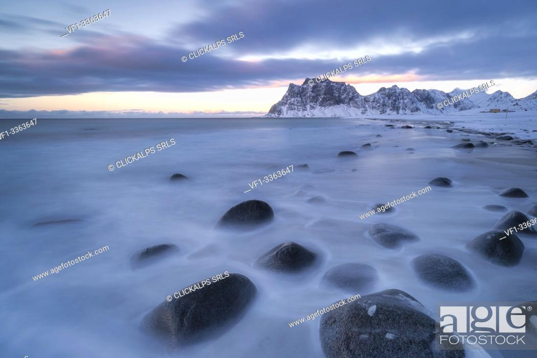 Stock Photo: Uttakleiv beach covered with snow, Vestvagoy, Nordland, Lofoten Islands, Norway.