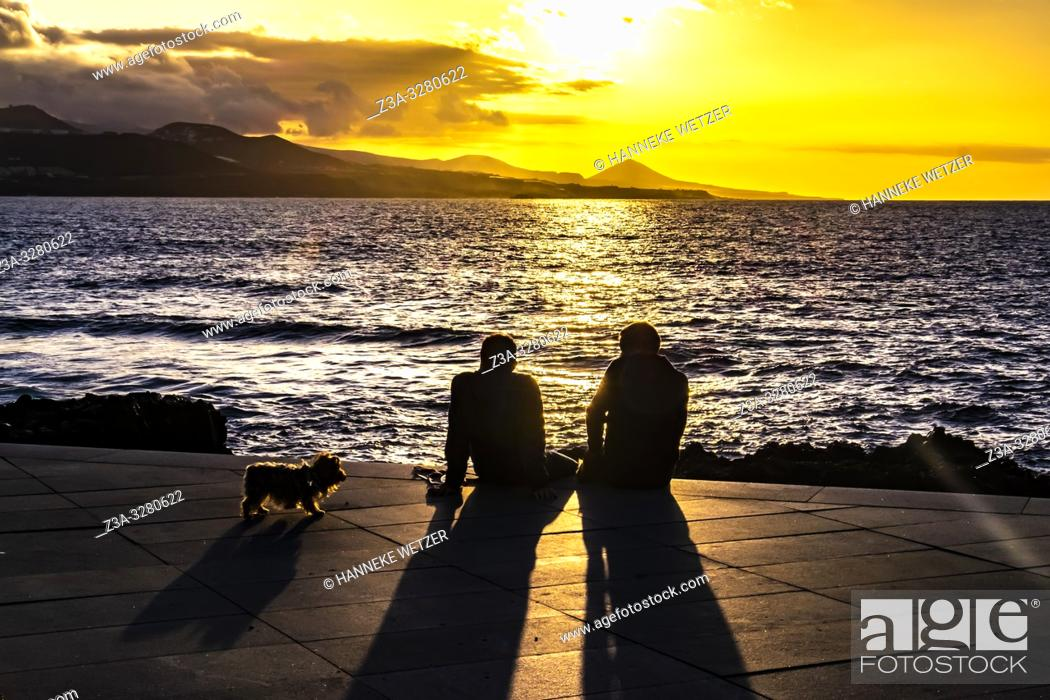 Stock Photo: Two men and a dog enjoying the sunset at the coastline of Las Palmas de Gran Canaria, Canary Islands.