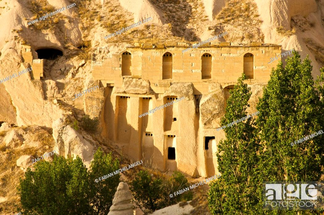 Stock Photo: Cave dwellings in Pigeon Valley, near Uchisar, Nevsehir, Cappadocia, Turkey.