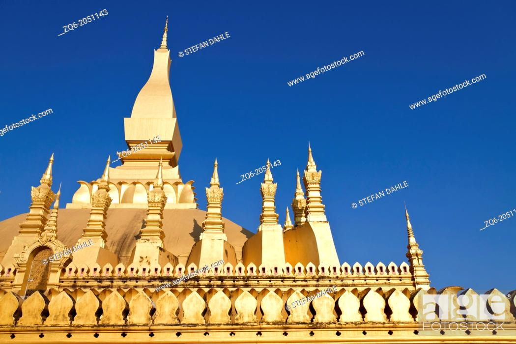 Stock Photo: The Temple That Luang in Vientiane in Laos.