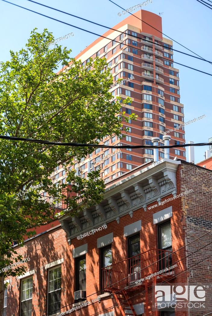 Stock Photo: New York City, NY, USA, Contrast, Old & New Buildings, Hunter's Point, Brooklyn District.