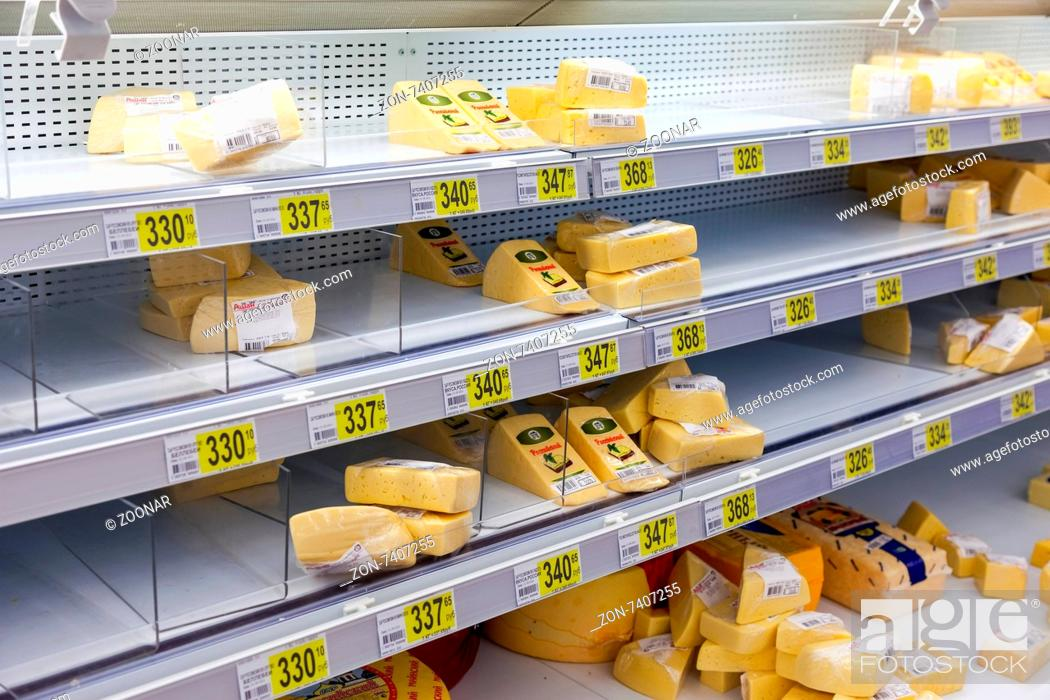 SAMARA, RUSSIA - AUGUST 30, 2014: Sale of cheese in the