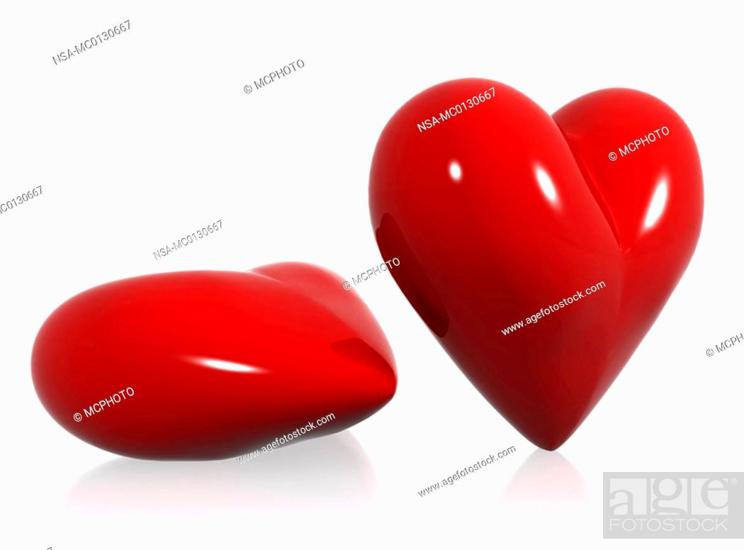 Stock Photo: red hearts of love.