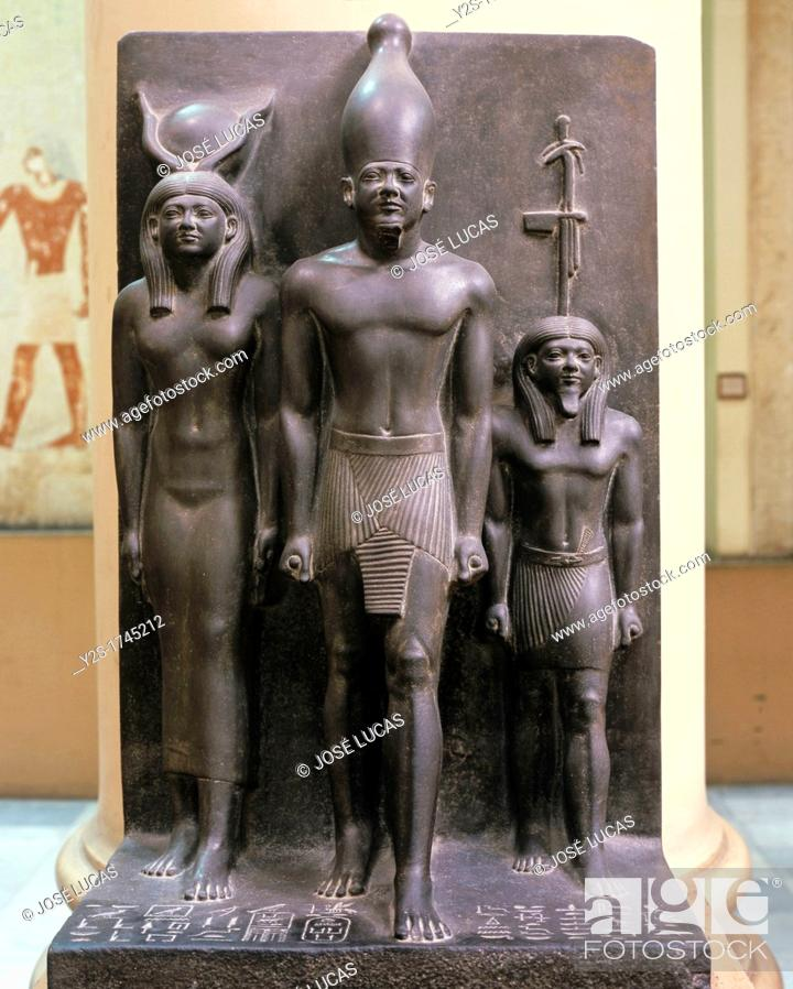 Stock Photo: Triad of Menkaura - between the goddess Hathor and Waset (4th Nome of Upper Egypt), 26th century BC, Museum of Egyptian Antiquities, Cairo, Egypt, Africa.
