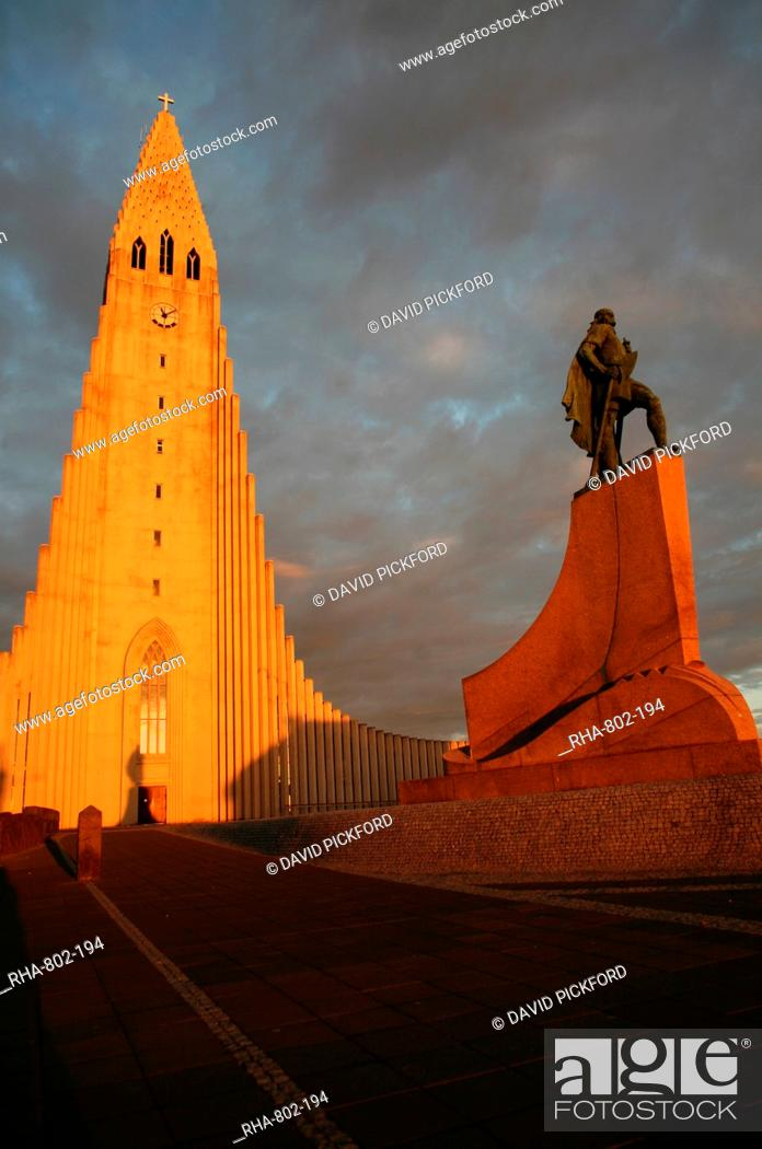 Stock Photo: Cathedral in Reykjavik, Iceland, Polar Regions.