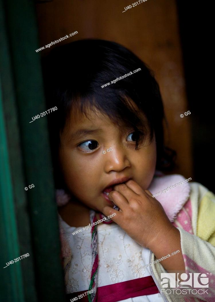 Stock Photo: Guatemala, Chajul, portrait of a Mayan girl.
