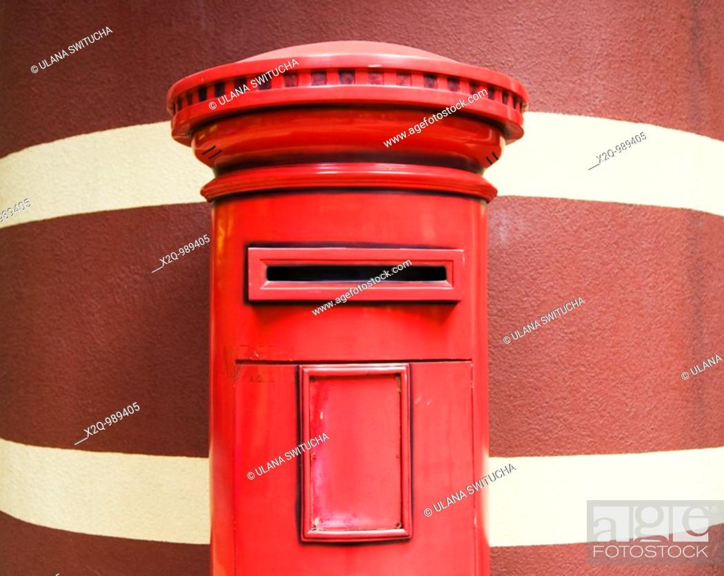 Stock Photo: Red British Post Box left from the colonial period in Hong Kong China.