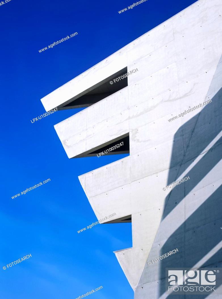Stock Photo: Architectural detail of concrete building with modern shape.