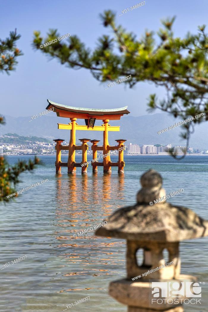 Stock Photo: Itsukushima Miyajima Japan. Itsukushima Shrine and floating torii gate.