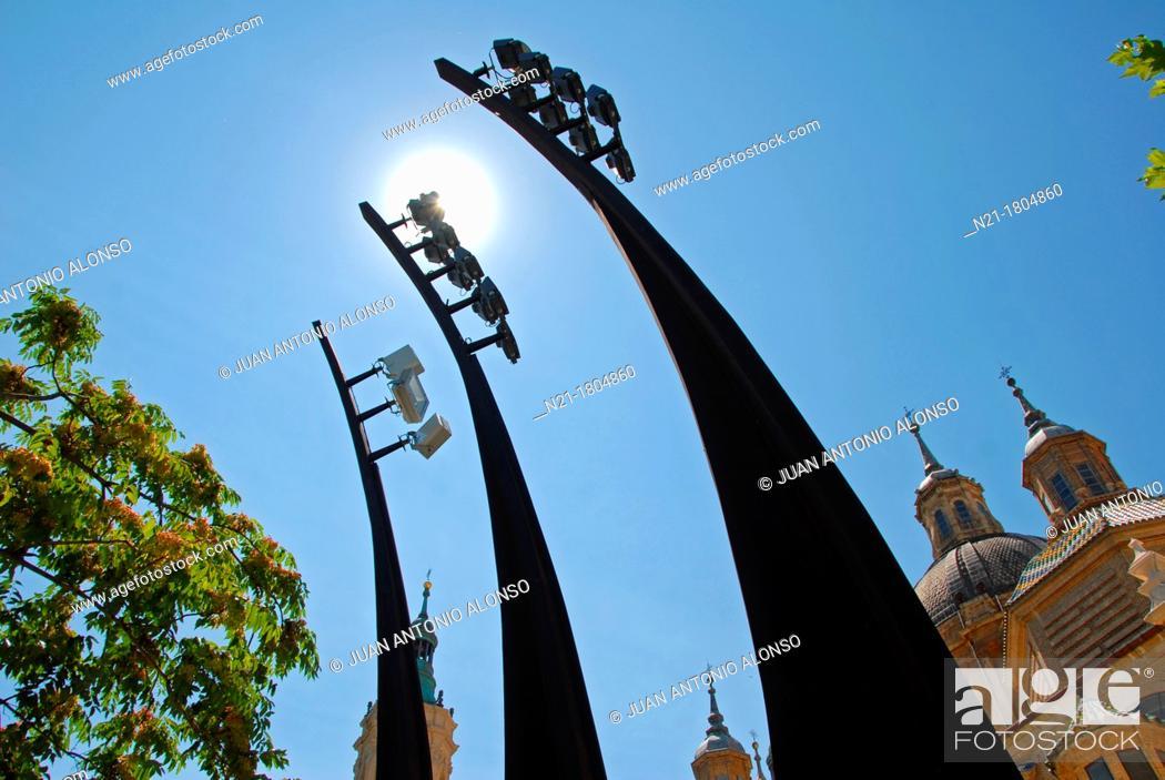 Stock Photo: Spotlights poles for the Basílica de Nuestra Señora del Pilar on the Paseo de Echegaray y Caballero  Zaragoza, Aragón, Spain, Europe.