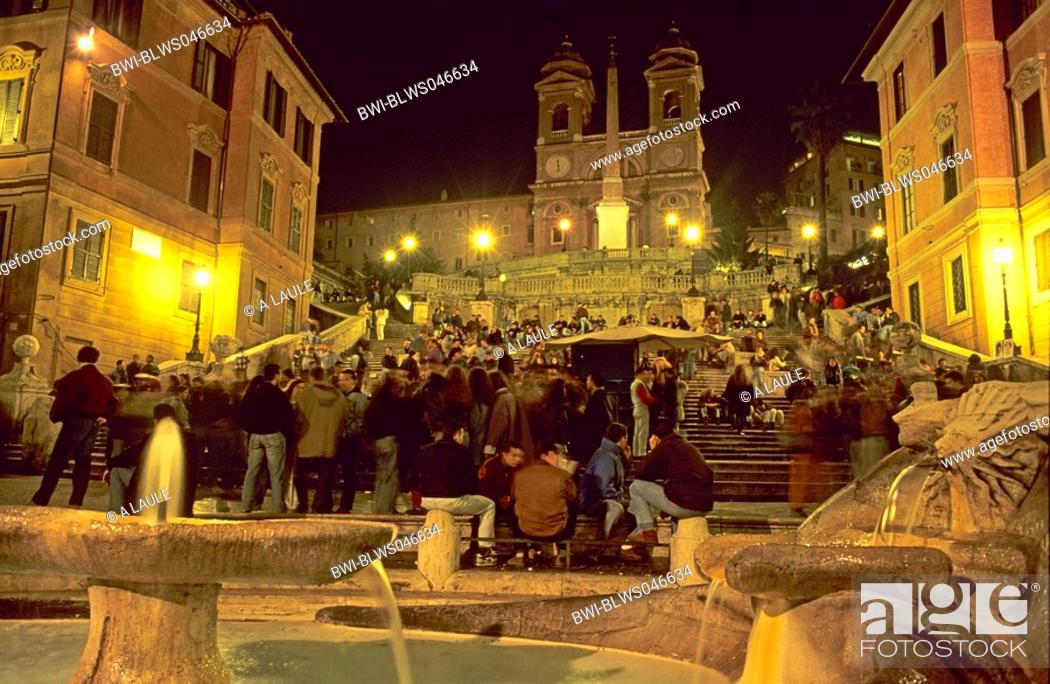 Stock Photo: Spanish Steps at night with Santa TrinitÓ dei Monti and Fontana della Barcaccia, Italy, Rome.