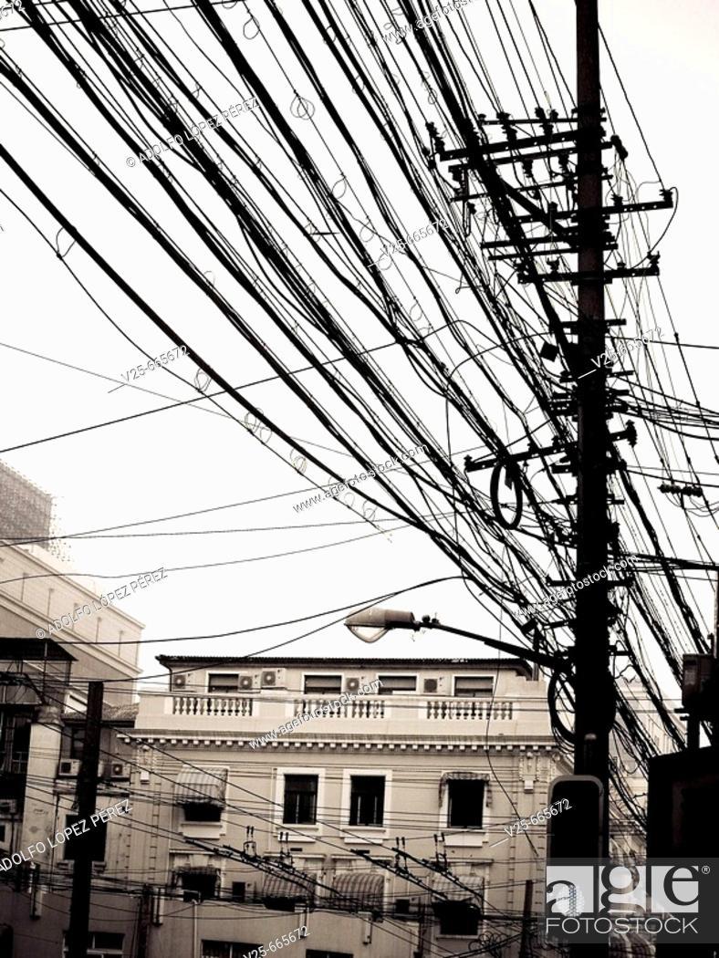 Stock Photo: Power lines, China.