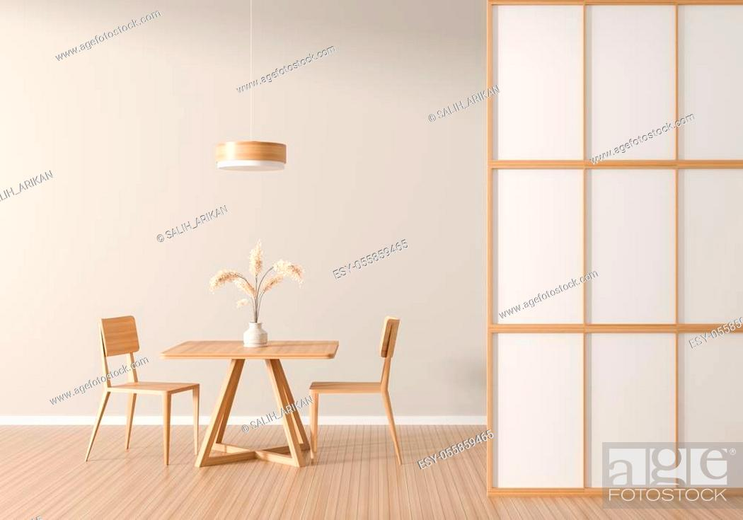 Stock Photo: Spacious modern dining room with wooden chair and table. Minimalist dining room design. 3D illustration.