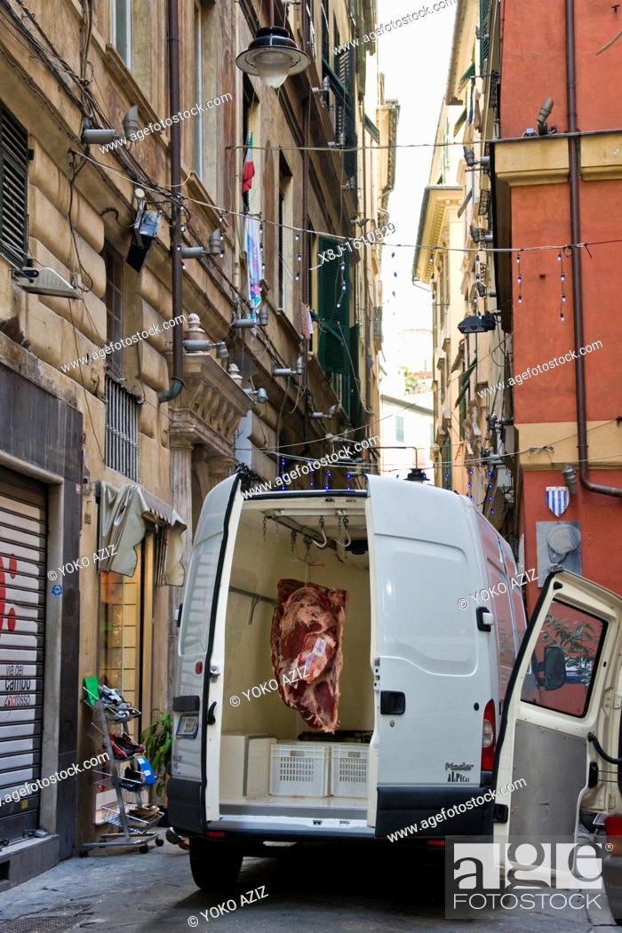 Stock Photo: Butcher, Genoa, Liguria, Italy.
