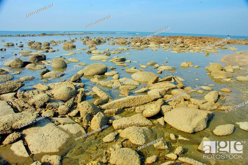 Stock Photo: Sea beach of Saint Martin's Island at Teknaf in Cox's Bazar It is the only coral island of Bangladesh and one of the famous tourist destinations of the country.