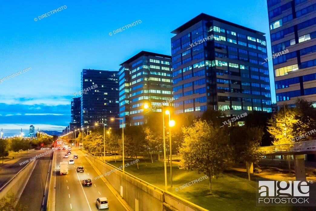 Stock Photo: Barcelona, Spain, Street Scenes, Ring Road, Highway, Port Forum Neighborhood, .