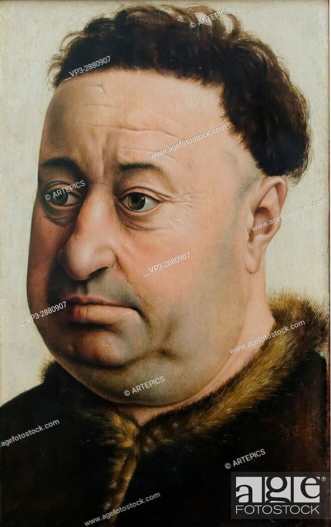 Stock Photo: Master of Flemalle - Portrait of a plump mans - 1440 - XV th Century -Gemäldegalerie - Berlin.