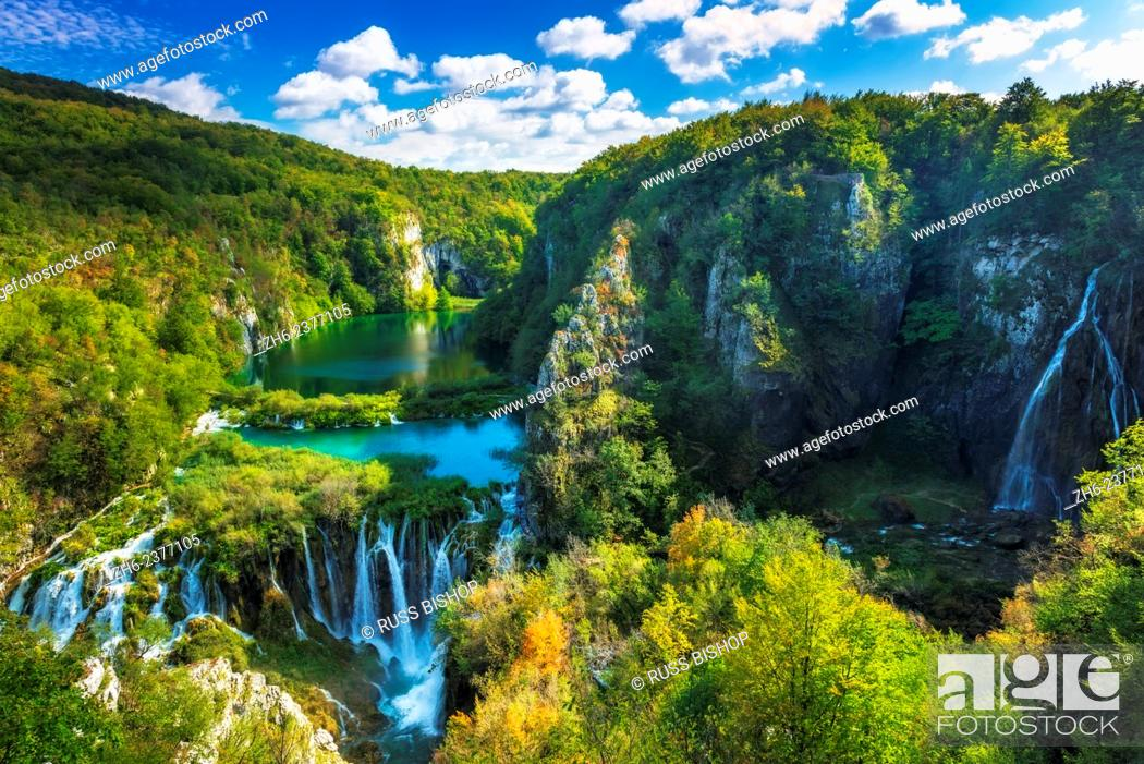 Stock Photo: Travertine cascades on the Korana River, Plitvice Lakes National Park, Croatia.
