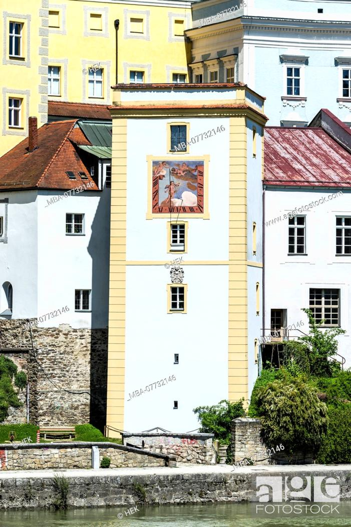 Stock Photo: Tower with sundial in Passau.