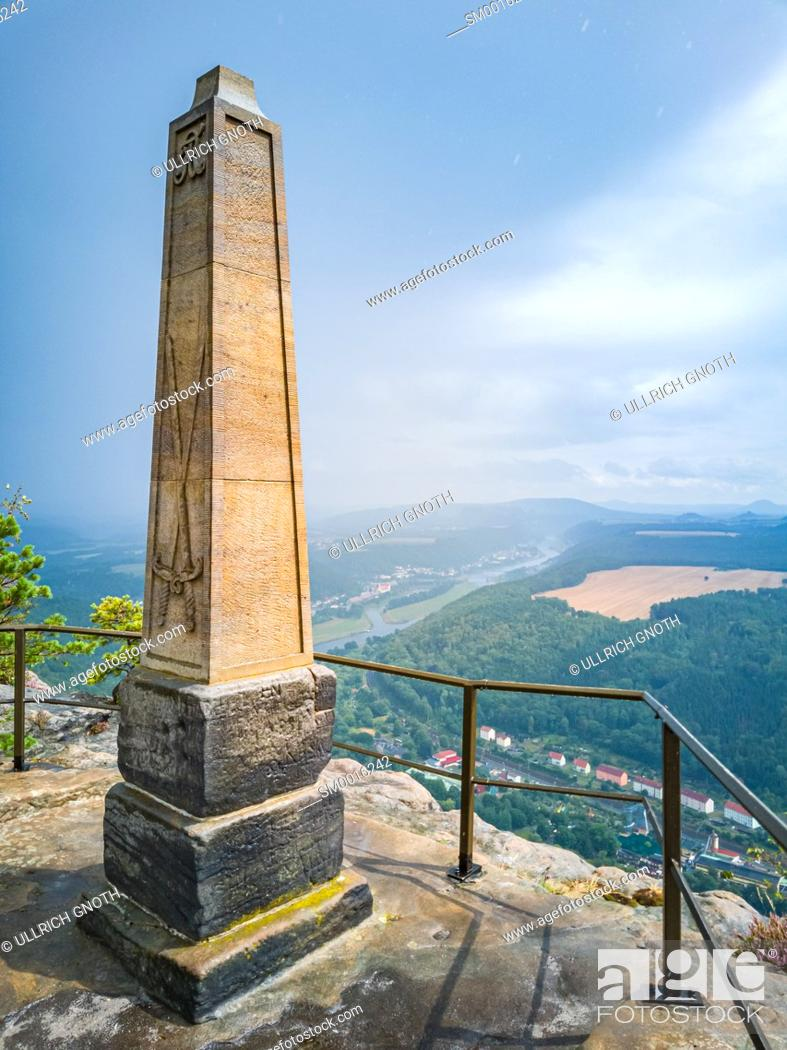 Stock Photo: Elbe Sandstone Mountains (Saxon Switzerland), Saxony, Germany, obelisk on the Lilienstein rock to commemorate the ascent by King August der Starke and panoramic.