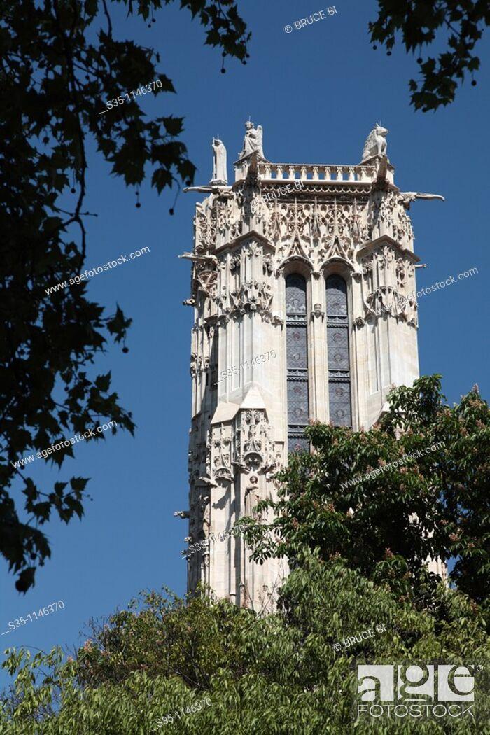 Stock Photo: Gothic masterpiece Tour Saint-Jacques, Paris, Île-de-France, France.