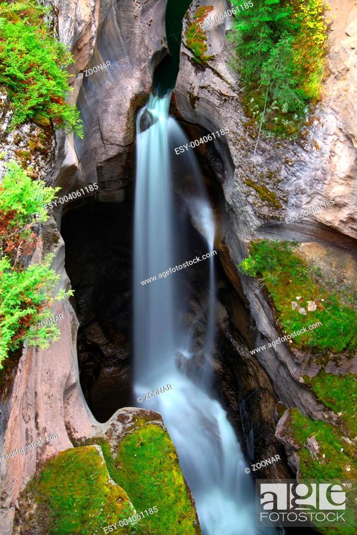 Stock Photo: Maligne Canyon Waterfall.