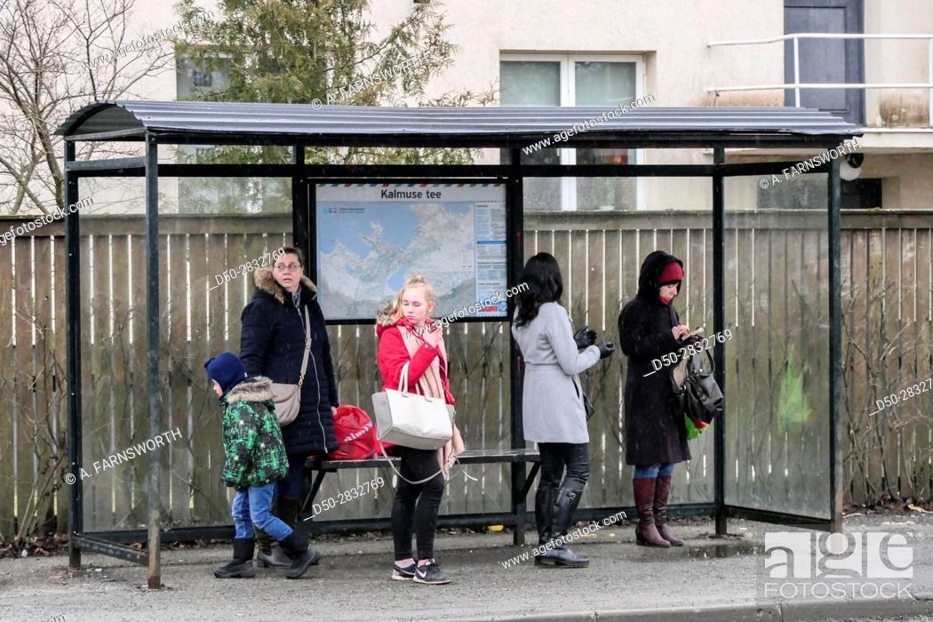 Stock Photo: TALLINN, ESTONIA School children returning home after school.