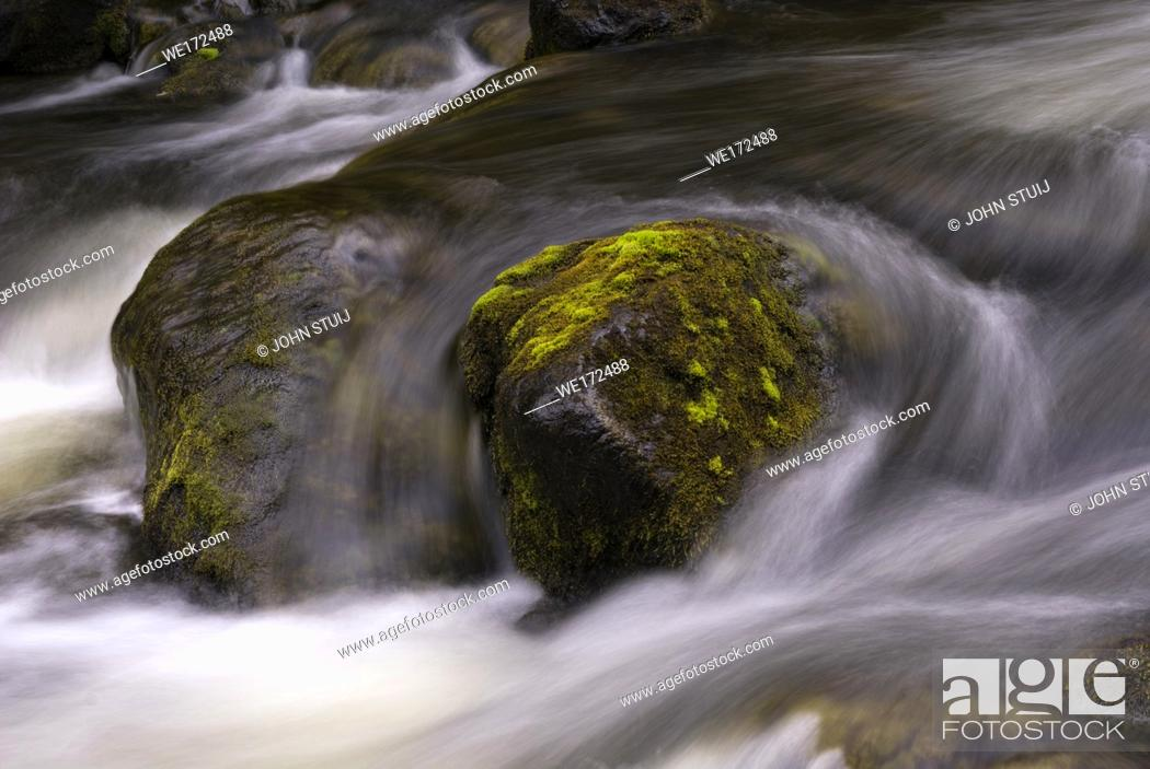 Stock Photo: Rock in the Tefafallet waterfall near the Swedish village Ljusnedal.