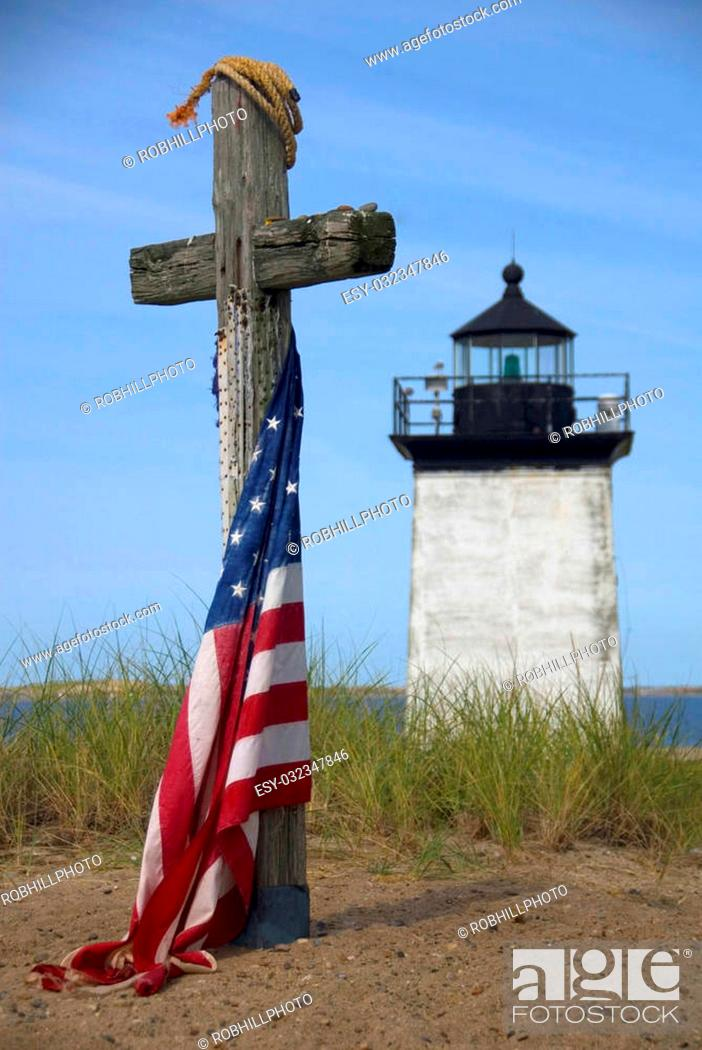 Stock Photo: Memorial at Long Point Lighthouse in Provincetown, Cape Cod, MA, USA.
