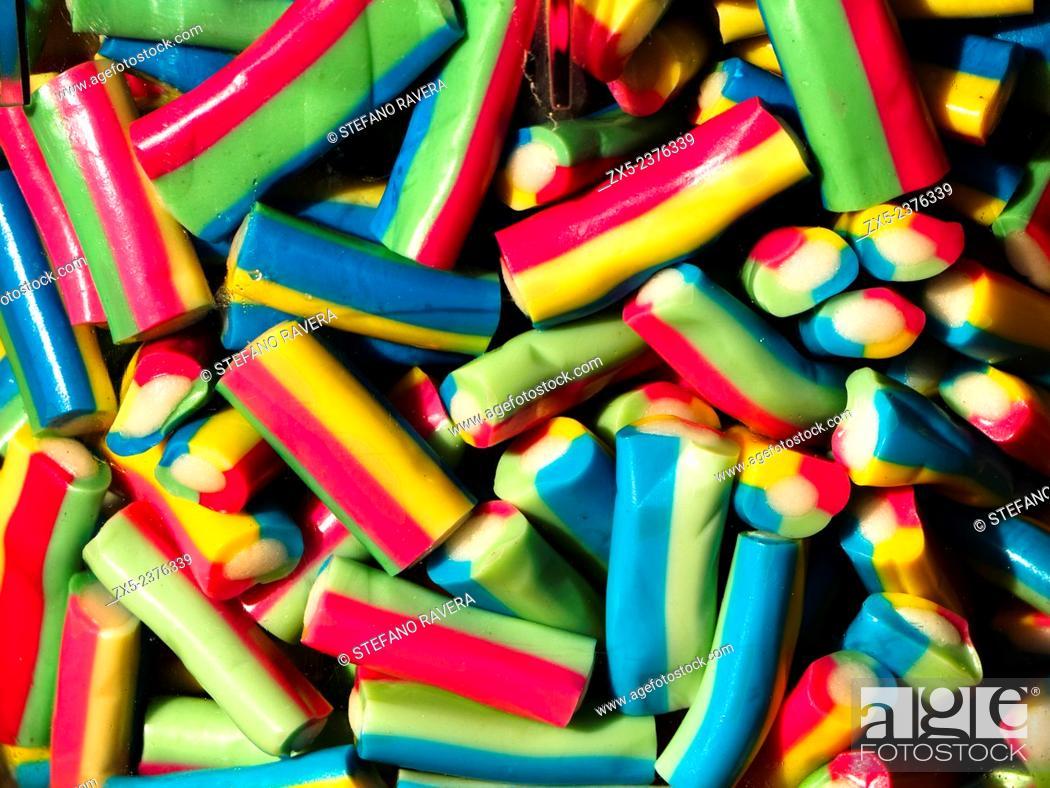Stock Photo: Coloured candies in the market of Marsaxlokk - Malta.