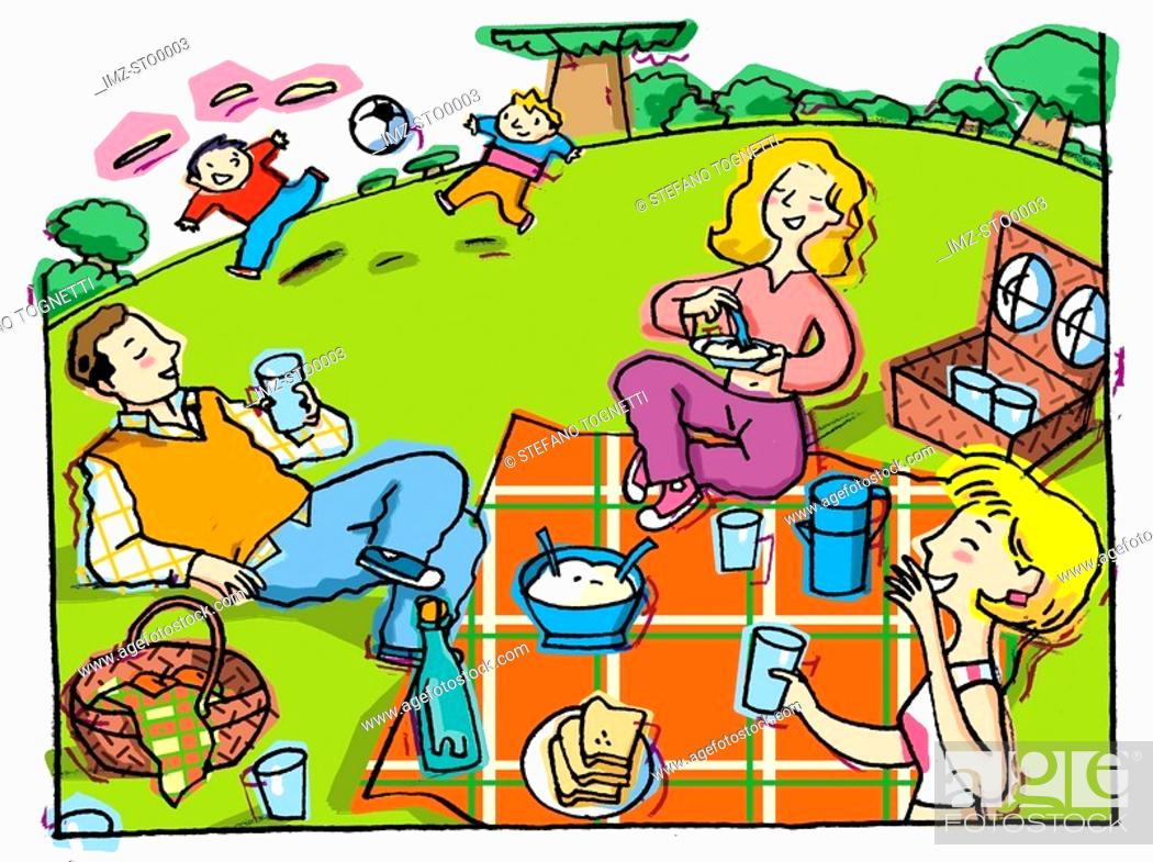 Stock Photo: An illustration of a family picnic.