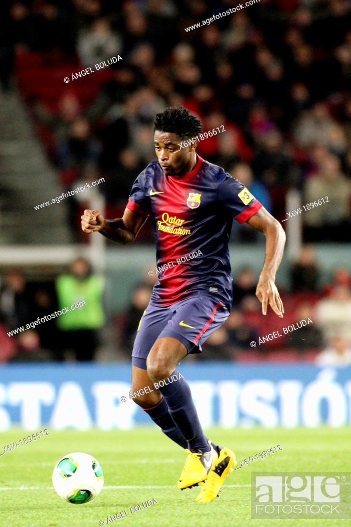 Stock Photo: 16 01 2013 Barcelona, Spain Song in action during the Spanish Copa del Rey game between Barcelona and Malaga from the Nou Camp.