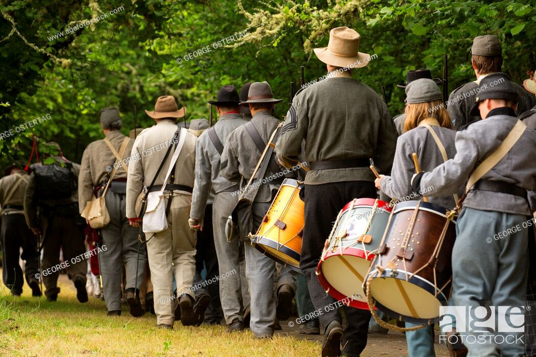 Stock Photo: Confederate soldiers on the march, Civil War Reenactment, Willamette Mission State Park, Oregon.