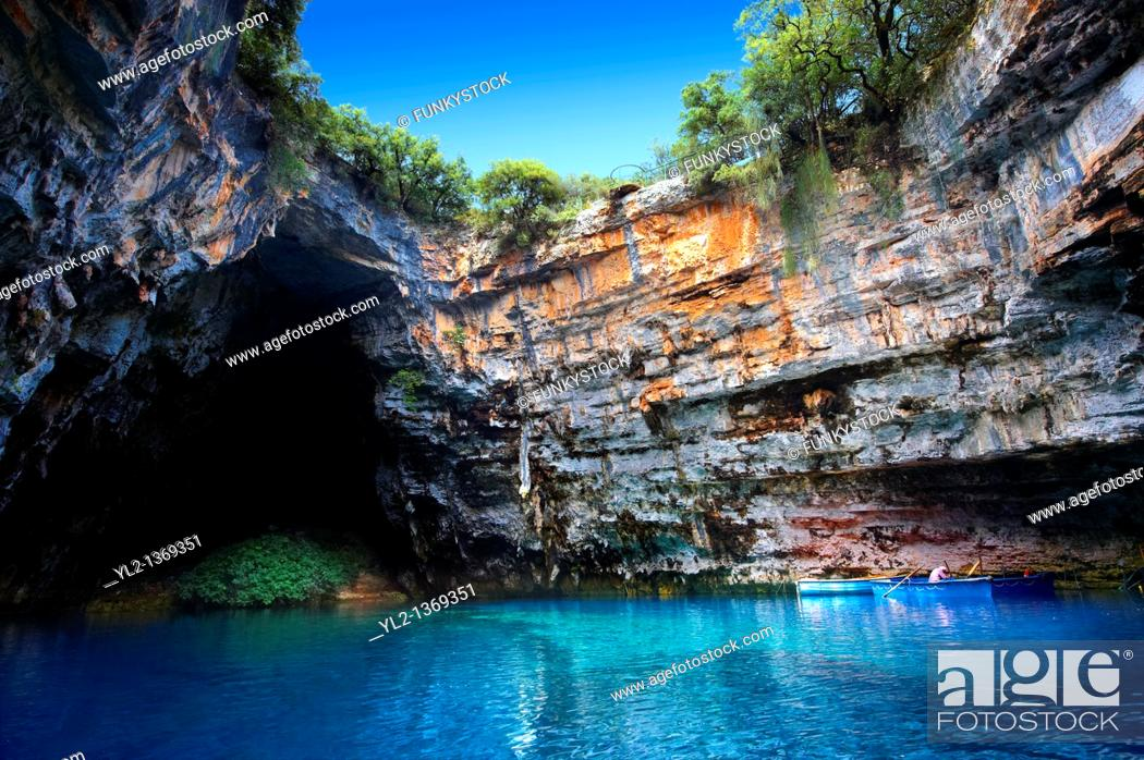 Stock Photo: The Lake Melissani  inland cave with sea water, Kefalonia, Ionian Islands, Greece.