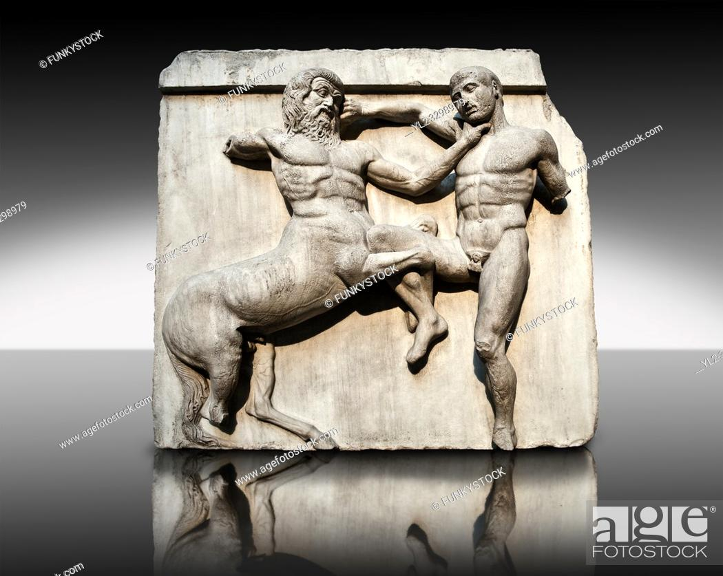 Stock Photo: Sculpture of Lapiths and Centaurs battling from the south east corner Metope of the Parthenon on the Acropolis of Athens no XXXII.