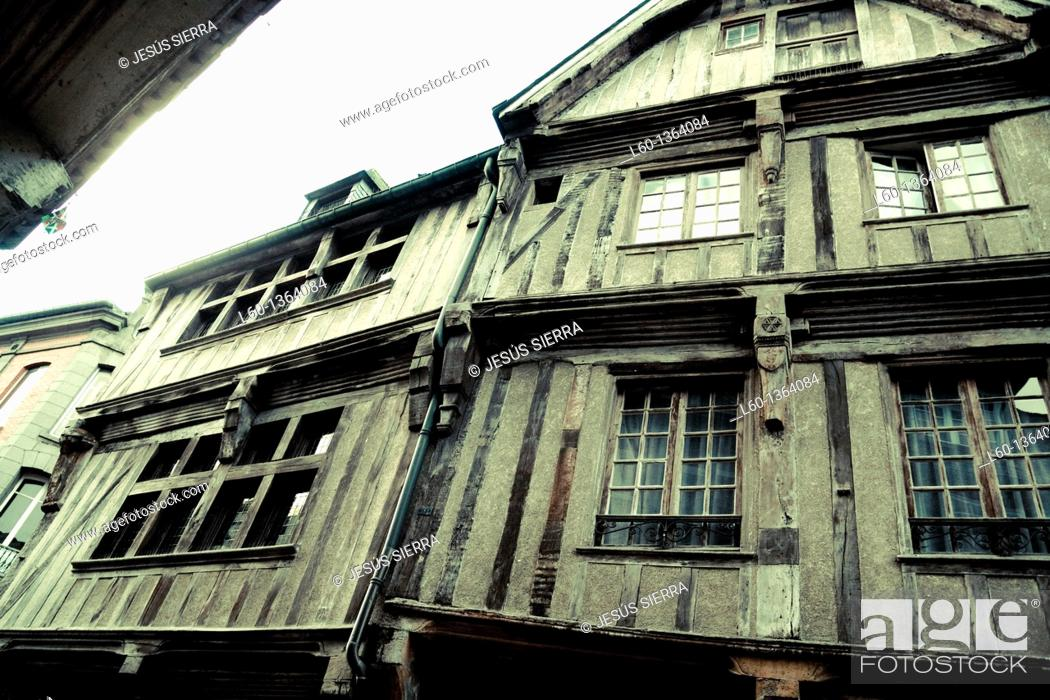 Stock Photo: Houses in Dinan, Brittany, France.